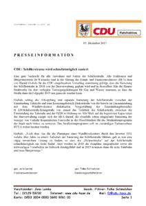 05.12.2017 Pressemitteilung derCDU