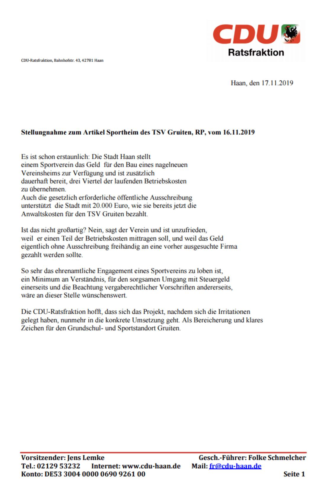 19.11.2019 Stellungnahme zum Artikel Sportheim des TSV Gruiten, RP, vom 16.11.2019